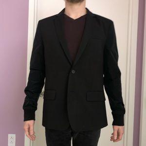 New black blazer with nylon sleeve detail